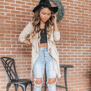 DRAPED IN FAUX SUEDE JACKET
